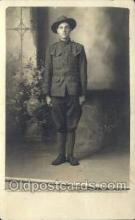 mil025033 - WWI Real Photo Military Soldier in Uniform Post Card Postcard