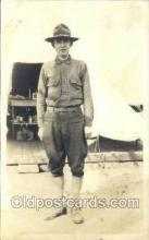 mil025036 - WWI Real Photo Military Soldier in Uniform Post Card Postcard