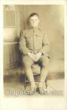 mil025047 - WWI Real Photo Military Soldier in Uniform Post Card Postcard