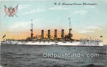 mil050329 - US Armored Cruiser Washington  Postcard Post Card