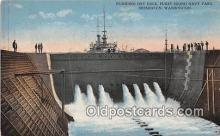 mil050419 - Flodding Dry Dock, Puget Sound Navy Yard Bremerton, Washington Postcard Post Card