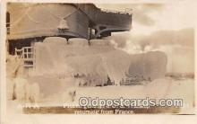 mil050444 - Real Photo - Frozen Guns, US Warship returning from France Postcard Post Card