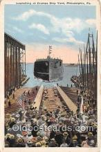 mil050450 - Launching, Cramps Ship Yard Philadelphia, PA Postcard Post Card