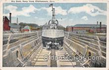 mil050478 - Dry Dock, Navy Yard Charlestown, Mass Postcard Post Card