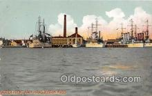 mil050479 - Water Front Navy Yard Boston, Massachusetts Postcard Post Card
