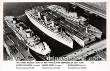 mil050587 - Queen Elizabeth, Mary, Normandie Sunk in NY New York Postcard Post Card