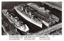 mil050588 - Queen Elizabeth, Mary, Normandie Sunk in NY New York Postcard Post Card