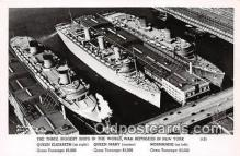 mil050592 - Queen Elizabeth, Mary, Normandie Sunk in NY New York Postcard Post Card