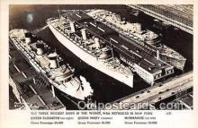 mil050593 - Queen Elizabeth, Mary, Normandie Sunk in NY New York Postcard Post Card