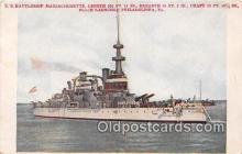 mil050690 - US Battleship Massachusetts Place Launched Philadelphia, PA, USA Postcards Post Cards Old Vintage Antique