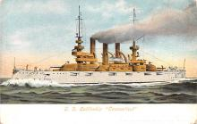 mil051287 - Military Battleship Postcard, Old Vintage Antique Military Ship Post Card
