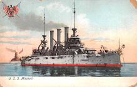mil051898 - Military Battleship Postcard, Old Vintage Antique Military Ship Post Card