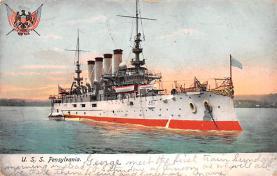 mil051967 - Military Battleship Postcard, Old Vintage Antique Military Ship Post Card