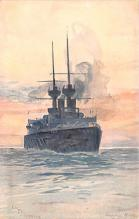 mil052063 - Military Battleship Postcard, Old Vintage Antique Military Ship Post Card