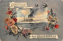 mil052108 - Military Battleship Postcard, Old Vintage Antique Military Ship Post Card