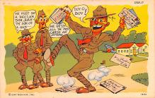 mil201025 - Military Comic Postcard, Old Vintage Antique Post Card