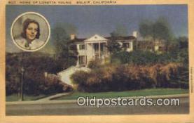 msh001026 - Loretta Young, Belair, CA, USA Movie Star, Actor / Actress, Post Card Postcard
