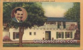 msh001038 - Clark Gable, Encino CA, USA Movie Star, Actor / Actress, Post Card Postcard