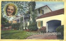 msh001085 - Alice Faye, Beverly Hills, CA, USA Movie Star, Actor / Actress, Post Card Postcard