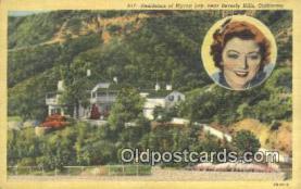 msh001086 - Myrna Loy, Near Beverly Hills, CA, USA Movie Star, Actor / Actress, Post Card Postcard