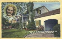 msh001100 - Alice Faye, Beverly Hills, CA, USA Movie Star, Actor / Actress, Post Card Postcard