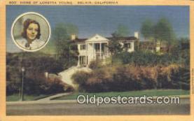 msh001126 - Loretta Young, Belair, CA, USA Movie Star, Actor / Actress, Post Card Postcard