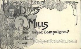 mus001044 - Davis & Mills, Geo H Carr Music, Musician, Composer, Postcard Postcards