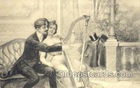 mus002084 - harp Music, Musical Instrument Post Cards Postcards