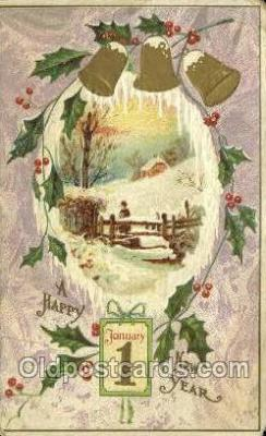 new001263 - New Years Eve Postcard Post Cards Old Vintage Antique