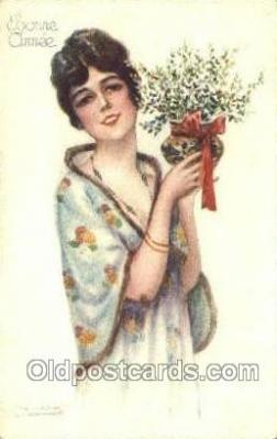 new001307 - Artist Bompard, New Years Eve Postcard Post Cards Old Vintage Antique