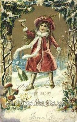 new001368 - New Years Eve Postcard Post Cards Old Vintage Antique