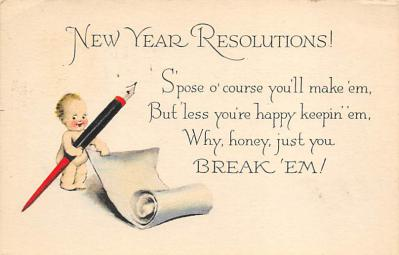 new002007 - New Years Day Postcards Old Vintage Antique Post Cards