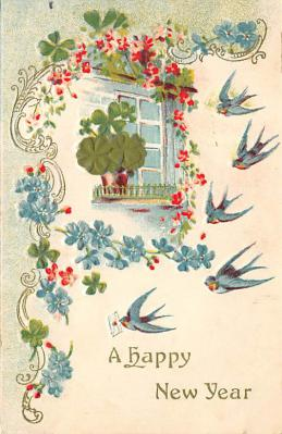 new002125 - New Years Day Postcards Old Vintage Antique Post Cards