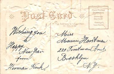 new002441 - New Years Day Postcards Old Vintage Antique Post Cards  back