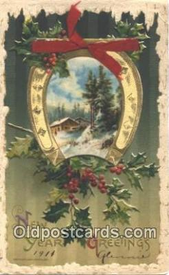 nov001023 - New Years Greetings Novelty Postcard Post Cards Old Vintage Antique