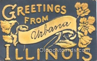 nov001044 - Greetings from Urbana Illinois, IL USA Novelty Postcard Post Cards Old Vintage Antique
