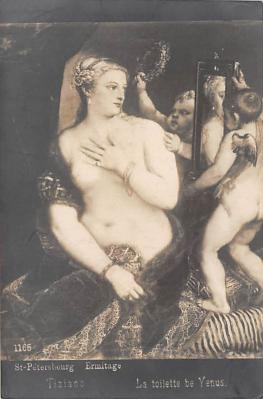 nud011002 - Painted by Tiziano, Painting in the Ermitage, St Petersburg Russian Nude Postcard