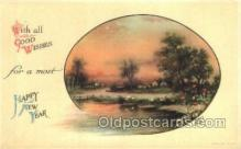 new001179 - New Years Eve Postcard Post Cards Old Vintage Antique