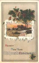 nov001087 - New Year Greetings Novelty Postcard Post Cards Old Vintage Antique