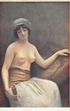 nud008520 - A Woman and the Statuette Nude Postcard