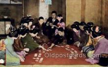 nyk001287 - Playing Uta-garuta, or 100 poets Nippon Yusen Kaisha Ship, NYK Shipping Postcard Postcards
