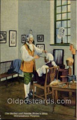 ocp001053 - The Barber & Peruke Maker's Shop, Williamsburg,  Virginia USA, Occupational Postcard Postcards