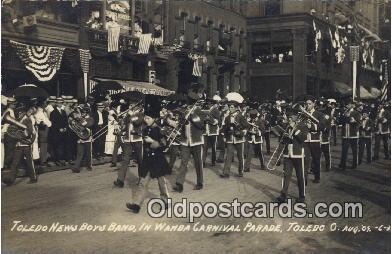 par001036 - Toledo News Boys Band, Wamba Carnival, 1909 Toledo Parade, Parades, Postcard Postcards
