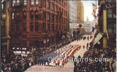 par001053 - Sixth Street, west Robert, St. Paul, MN? Lexingtopn Park Horse Show, Parade, Parades, Postcard Postcards