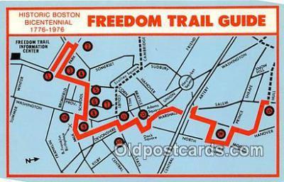 pat100048 - Freedom Trail Guide, Bicentennial 1776-1976 Historic Boston Postcard Post Card