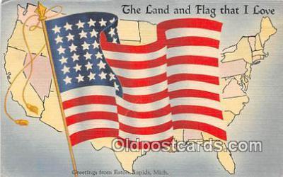 pat100053 - Land & Flag That I Love Eaton Rapids, Michigan Postcard Post Card