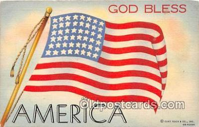 pat100096 - Gold Bless America  Postcard Post Card