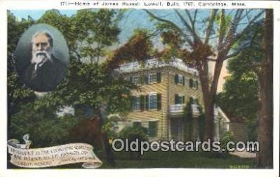 poe001037 - James Russell Lowell home Built 1767 Cambridge, Mass. USA Author & Poets Postcard Postcards