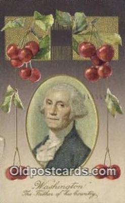 pol001225 - Silk center, George Washington, 1st President USA, Political, Old Vintage Antique Postcard Post Card