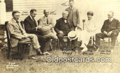 pol100233 - Harry Firestone, President Coolidge, Henry Ford, Russell Firestone, Thomas Edison, Mrs. Coolidge, Col. John Coolidge, Political Postcard Postcards